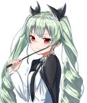 1girl anchovy anzio_school_uniform black_bow black_cape black_neckwear bow cape drill_hair eyebrows_visible_through_hair girls_und_panzer green_hair hair_between_eyes hair_bow highres holding_whip kuki_panda_(wkdwnsgk13) long_hair necktie red_eyes school_uniform shiny shiny_hair shirt signature simple_background sketch smile solo twin_drills twintails upper_body very_long_hair white_background white_shirt