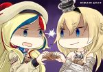 2girls artist_logo beret big_head blonde_hair blue_eyes blue_hair braid chibi commandant_teste_(kantai_collection) commentary_request crown dated dress flower french_braid gradient gradient_background hat hinata_yuu jewelry kantai_collection long_hair long_sleeves mini_crown multicolored multicolored_clothes multicolored_hair multicolored_scarf multiple_girls necklace no_sclera off-shoulder_dress off_shoulder plaid plaid_scarf pom_pom_(clothes) purple_background red_flower red_ribbon red_rose redhead ribbon rose scallop scarf shaded_face shell staring streaked_hair tilted_headwear upper_body v-shaped_eyebrows warspite_(kantai_collection) white_dress white_hair