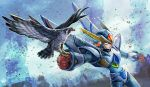 1boy android bird bird_of_prey capcom clenched_hand cowboy_shot dutch_angle falcon gloves green_eyes helmet kiwakiwa looking_to_the_side male_focus outstretched_arm peregrine_falcon power_armor red_gloves rockman rockman_x rockman_x5 serious x_(rockman)