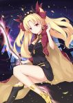 1girl absurdres black_dress blonde_hair bow diadem dress earring_removed ereshkigal_(fate/grand_order) eyebrows_visible_through_hair fate/grand_order fate_(series) floating_hair hair_bow haori highres holding holding_sword holding_weapon japanese_clothes long_hair looking_at_viewer night poinia red_bow red_eyes short_dress solo sword very_long_hair weapon