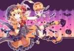 1girl :q absurdres alternate_costume ankle_boots basket bat black_hat black_vest blonde_hair blush boots bow bowtie brooch candy candy_wrapper checkerboard_cookie cookie crystal eyebrows_visible_through_hair flandre_scarlet food frilled_skirt frills full_body ghost gradient gradient_background halloween halloween_basket hat hat_ribbon highres holding holding_basket holding_lollipop huge_filesize jack-o'-lantern jam_cookie jewelry kneehighs knees_together_feet_apart kure~pu licking_lips lollipop looking_at_viewer mob_cap one_side_up orange_footwear orange_shirt orange_skirt outline outstretched_arm pigeon-toed puffy_short_sleeves puffy_sleeves pumpkin red_bow red_eyes red_ribbon ribbon shirt short_hair short_sleeves sitting skirt skirt_set smile solo star starry_background striped striped_background striped_legwear swirl_lollipop thumbprint_cookie tongue tongue_out touhou vertical-striped_background vertical_stripes vest wings wrist_cuffs