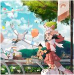 1girl :d bag balloon blue_eyes blue_hair blue_sky blush boots border clouds cloudy_sky creatures_(company) dark_blue_hair duffel_bag flower game_freak gen_2_pokemon gen_3_pokemon gen_4_pokemon hat highres hikari_(pokemon) holding kneehighs leaf lighthouse long_hair long_sleeves nintendo on_head open_mouth outdoors pachirisu pichu pink_footwear pokemon pokemon_(creature) pokemon_(game) pokemon_dppt pokemon_platinum railing ririmon scarf shaymin sky smile solo teeth tree white_border white_flower white_hat white_legwear white_scarf wingull