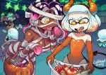 2018 4girls artist_name bag bandage bandages bare_shoulders breasts candy cephalopod_eyes colo_(nagrolaz) dark_skin demon_girl demon_horns demon_tail elbow_gloves fake_horns fake_tail flat_chest food ghost_costume gloves halloween halloween_costume highres hime_(splatoon) hockey_mask horns iida_(splatoon) inkling jack-o'-lantern jellyfish_(splatoon) jiangshi large_breasts leotard medium_hair multicolored_hair multiple_girls mummy_costume naked_bandage nintendo octoling ofuda open_mouth orange_gloves orange_leotard purple_hair running short_hair silver_hair smile splatoon splatoon_2 strapless strapless_leotard tail tentacle_hair tongue tongue_out two-tone_hair yellow_eyes