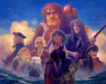 6+boys abraham_gray barrel benbow bird black_hat blonde_hair blue_sky brown_hair child clouds cravat epaulettes fmu grey_hair gun hat holding holding_gun holding_weapon jim_hawkins long_john_silver male_focus multiple_boys ocean oldschool parrot ship sideburns sitting sky smile squire_trelawney takarajima treasure_island watercraft weapon white_hair wig