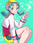 1girl aqua_background blue_eyes blue_hair blush closed_mouth creatures_(company) cropped_jacket crystal_(pokemon) game_freak hand_up hat jacket long_hair long_sleeves nintendo open_clothes open_jacket pokemon pokemon_(game) pokemon_gsc red_shirt ririmon shirt sitting smile solo turtleneck twintails white_jacket yellow_hat