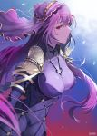 1girl artist_name bangs blush bodysuit breasts circlet commentary_request covered_navel damda eyebrows_visible_through_hair fate/grand_order fate_(series) hair_between_eyes large_breasts long_hair looking_at_viewer pauldrons purple_bodysuit purple_hair red_eyes ruby_(gemstone) scathach_(fate)_(all) scathach_(fate/grand_order) solo taut_bodysuit very_long_hair