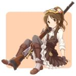 1girl alternate_costume black_legwear boots brown_background brown_eyes brown_hair commentary_request cravat fingerless_gloves flower full_body gloves goggles goggles_on_head gun hair_flower hair_ornament idolmaster idolmaster_cinderella_girls long_hair looking_at_viewer mugi_(banban53) pantyhose pocket_watch ponytail rifle sitting smile solo steampunk takamori_aiko two-tone_background watch weapon white_background