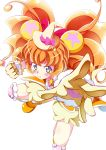 1girl animal_ears bear_ears bloomers blue_eyes blush bow cure_mofurun foreshortening gloves hat highres knee_pads mahou_girls_precure! mofurun_(mahou_girls_precure!) orange_hair outstretched_arm precure punching star star_in_eye symbol_in_eye tanabe_kyou underwear white_background witch_hat