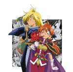 3boys 3girls amelia_wil_tesla_seyruun araizumi_rui blonde_hair blush cape eating food frame gloves gourry_gabriev headband holding holding_food lina_inverse long_hair mouth_hold multiple_boys multiple_girls octopus official_art one_eye_closed open_mouth pauldrons profile red_eyes redhead slayers white_gloves xelloss zelgadiss_graywords