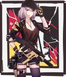 1girl breasts cleavage dog_tags earpiece echj german_flag girls_frontline gloves gun hair_ornament hairclip highres holster jacket kriss_vector mask mask_on_head open_clothes open_jacket shorts solo submachine_gun tank_top thigh-highs vector_(girls_frontline) weapon