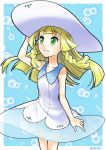 blonde_hair creatures_(company) dress game_freak green_eyes hat highres lillie_(pokemon) nintendo pokemon pokemon_(game) pokemon_sm smile white_dress white_hat