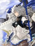 1girl armor azur_lane bangs blue_sky breastplate breasts brown_legwear cannon closed_mouth clouds commentary_request corset dated fleur_de_lis floating_hair from_side gauntlets gloves grey_hair hair_between_eyes hair_ornament highres holding holding_polearm holding_weapon kdm_(ke_dama) large_breasts long_hair looking_afar machinery miniskirt mole mole_under_eye outdoors pantyhose pleated_skirt polearm red_eyes rigging saint-louis_(azur_lane) sidelocks signature skirt sky solo turret weapon white_skirt wind