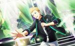 blonde_hair blue_eyes idolmaster idolmaster_side-m idolmaster_side-m_live_on_stage ijuuin_hokuto jacket microphone short_hair smile