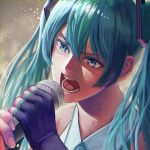 00s 1girl absurdres aqua_eyes aqua_hair blue_eyes blue_hair colored_eyelashes determined fingerless_gloves gloves hatsune_miku highres holding holding_microphone long_hair matching_hair/eyes microphone moyu_(forest1101) music open_mouth singing solo sweat twintails upper_body vocaloid