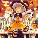 1girl ;d animal arm_up autumn_leaves belt_buckle bird black_hat black_sailor_collar blush bow brown_eyes buckle candy candy_wrapper chick clouds collarbone commentary_request crescent_moon food green_ribbon hair_ornament hairclip hat hat_ribbon head_tilt highres holding holding_food holding_lollipop jack-o'-lantern light_brown_hair lollipop long_hair long_sleeves mismatched_legwear moon one_eye_closed open_mouth orange_belt orange_bow orange_skirt original outdoors outstretched_arm pantyhose paper rabbit ribbon sailor_collar sakura_oriko school_uniform serafuku shirt skirt smile solo star striped striped_legwear sunset swirl_lollipop tree vertical-striped_legwear vertical_stripes very_long_hair wand white_shirt witch_hat x_hair_ornament