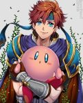 1boy armor bandanna blue_eyes cape carrying fingerless_gloves fire_emblem fire_emblem:_fuuin_no_tsurugi gloves holding kirby kirby_(series) looking_at_viewer nintendo pauldrons redhead roy_(fire_emblem) smile super_smash_bros. tsuko_(25mnts)