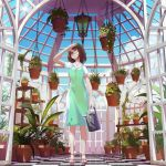 1girl arm_up blue_sky brown_eyes brown_hair checkered checkered_floor day dress florist green_dress highres indoors lantern medium_hair one_eye_closed original ost02 plant potted_plant puffy_short_sleeves puffy_sleeves sandals short_sleeves sky solo standing watering_can window zanshomimai
