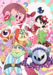 +_+ 2girls :d ;) adeleine bandana_waddle_dee bandanna bird black_hair black_skirt blush_stickers brown_eyes buttons closed_eyes green_sweater hair_ornament hand_up hat heart highres king_dedede kirby kirby's_dream_land kirby_(series) kracko mask meta_knight multiple_girls nintendo one_eye_closed open_mouth penguin polka_dot ponto1588 red_hat skirt smile staff star sweater tilted_headwear waddle_doo wig x_hair_ornament
