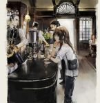 2girls 3boys bag bare_shoulders black_hair black_pants black_vest blouse blue_eyes bottle bracelet brown_hair cafe chibi_(shimon) chin_rest coffee coffee_pot commentary cup drinking english_commentary from_behind from_side holding holding_phone indoors jar jewelry long_hair looking_at_another multiple_boys multiple_girls off_shoulder original pants parted_lips phone profile shirt short_sleeves smile solo_focus standing vest white_blouse white_shirt window