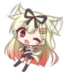 1girl ;d bangs black_legwear black_ribbon black_serafuku black_shirt black_skirt blonde_hair blush blush_stickers chibi commentary_request dog_tail dutch_angle ear_wiggle eyebrows_visible_through_hair fang full_body gradient_hair hair_between_eyes hair_ears hair_flaps hair_ornament hair_ribbon hairclip kantai_collection kneehighs komakoma_(magicaltale) long_hair looking_at_viewer looking_to_the_side multicolored_hair no_shoes one_eye_closed open_mouth pleated_skirt puffy_short_sleeves puffy_sleeves red_eyes red_neckwear redhead remodel_(kantai_collection) ribbon scarf school_uniform serafuku shirt short_sleeves simple_background skirt smile solo tail tail_wagging very_long_hair white_background white_scarf yuudachi_(kantai_collection)