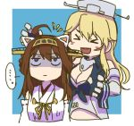 >_< ... 2girls :d ahoge animal_ears betchan blonde_hair breasts brown_hair cat_ears cleavage commentary_request detached_sleeves fake_animal_ears gloves hat iowa_(kantai_collection) kantai_collection kongou_(kantai_collection) long_hair multiple_girls open_mouth shaded_face smile spoken_ellipsis upper_body
