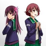2girls blouse blue_background blue_jacket brown_hair crescent crescent_hair_ornament crescent_moon_pin gradient_hair green_sailor_collar green_skirt hair_ornament highres jacket kantai_collection kisaragi_(kantai_collection) long_hair long_sleeves looking_at_viewer looking_away looking_back multicolored_hair multiple_girls mutsuki_(kantai_collection) neckerchief pleated_skirt redhead remodel_(kantai_collection) ribbon sailor_collar school_uniform serafuku short_hair skirt tomoyo_kai two-tone_background violet_eyes white_background white_blouse