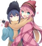 2girls :d bangs beanie black_gloves black_hat blue_eyes blue_hair blue_jacket blush brown_eyes brown_gloves brown_scarf closed_mouth commentary_request eyebrows_visible_through_hair fingerless_gloves fringe gloves hair_between_eyes hat head_tilt jacket kagamihara_nadeshiko kyuukon_(qkonsan) long_sleeves multiple_girls open_mouth pink_hair red_hat red_jacket scarf shared_scarf shima_rin simple_background smile sweat white_background yurucamp