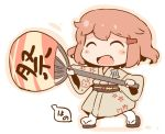 1girl artist_logo brown_hair chibi closed_eyes fan fang full_body hanomido ikazuchi_(kantai_collection) japanese_clothes kantai_collection kimono open_mouth oversized_object paper_fan sandals short_hair simple_background smile solo uchiwa walking white_background yukata