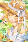 1girl bare_shoulders blonde_hair blush bracelet braid cocktail_umbrella drinking_straw elbows_on_table glass hat hat_ribbon inzup jewelry licking_lips lime_slice nail_polish original red_nails ribbon straw_hat summer tongue tongue_out twin_braids yellow_eyes