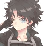 1boy bangs black_gloves black_hair black_jacket blue_eyes closed_mouth collarbone command_spell fate/grand_order fate_(series) fujimaru_ritsuka_(male) gloves hand_up jacket kidhukaji looking_at_viewer male_focus one_eye_closed polar_chaldea_uniform rubbing_eyes simple_background solo uniform white_background