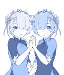 2girls artist_name bangs blue blush breasts commentary_request dress eisocool eyebrows_visible_through_hair hair_ornament hair_over_one_eye hair_ribbon hairclip hand_up heart interlocked_fingers looking_at_viewer monochrome multiple_girls parted_lips ram_(re:zero) re:zero_kara_hajimeru_isekai_seikatsu rem_(re:zero) ribbon short_hair short_sleeves siblings simple_background sisters small_breasts twins upper_body vietnamese_dress white_background x_hair_ornament