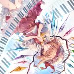 1girl album_cover ascot blonde_hair closed_eyes closed_mouth commentary_request cover crystal eyebrows_visible_through_hair facing_viewer feet_out_of_frame flandre_scarlet frilled_shirt_collar frills hands_clasped hat hat_ribbon hirai_yuzuki interlocked_fingers mob_cap musical_note own_hands_together petticoat piano_keys puffy_short_sleeves puffy_sleeves red_ribbon red_skirt red_vest ribbon shirt short_hair short_sleeves skirt skirt_set smile solo touhou upside-down vest white_shirt wings yellow_neckwear