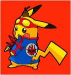 blue_jacket blush_stickers boota clothed_pokemon core_drill cosplay creatures_(company) drill from_behind full_body game_freak gen_1_pokemon goggles goggles_on_head jacket jewelry long_sleeves looking_at_viewer looking_back nintendo no_humans pikachu pokachuu pokemon pokemon_(creature) red_background simon simon_(cosplay) simple_background tengen_toppa_gurren_lagann