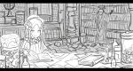 1boy 1girl abigail_williams_(fate/grand_order) bangs bloodborne book bookshelf bow brick_wall candle commentary_request crossover eyeballs fate/grand_order fate_(series) globe greyscale hair_bow hat hunter_(bloodborne) indoors jar kan_(aaaaari35) long_hair long_sleeves messy monochrome parted_bangs reading searching