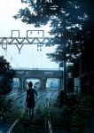 1girl animal arm_at_side bird cable dark day facing_away grass ground_vehicle hand_up hood hoodie kneehighs leaf long_hair original outdoors plant pleated_skirt ponytail power_lines railroad_tracks scenery shoes sign skirt solo takeyan_(774gon) train train_station walking