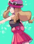 1girl aqua_background bag bare_shoulders closed_mouth creatures_(company) eyewear_on_head game_freak grey_eyes grey_shirt handbag hat high-waist_skirt light_brown_hair long_hair looking_at_viewer low-tied_long_hair nintendo outstretched_arm pokemon pokemon_(game) pokemon_xy red_hat red_skirt ririmon serena_(pokemon) shirt skirt sleeveless sleeveless_shirt smile solo sunglasses tongue tongue_out