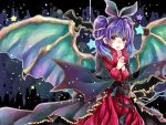 1girl animal_ears bat_ears candy dragon_wings fake_animal_ears fire_emblem fire_emblem:_seima_no_kouseki fire_emblem_heroes food fur_trim halloween_costume lollipop long_sleeves mamkute multi-tied_hair myrrh nintendo open_mouth purple_hair red_eyes solo twintails wings yuyu_(spika)