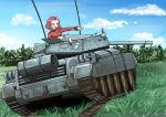 1girl artist_request brown_eyes caterpillar_tracks clouds crusader_(tank) cup day emblem girls_und_panzer grass ground_vehicle military military_vehicle motor_vehicle redhead rosehip short_hair sky smile solo st._gloriana's_(emblem) st._gloriana's_military_uniform tank teacup