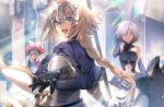 3girls armor armored_dress black_armor blonde_hair blue_eyes braid chains closed_mouth commentary_request eyebrows_visible_through_hair fate/grand_order fate_(series) flag gloves hair_between_eyes hair_over_one_eye hat headpiece holding holding_flag holding_shield holding_weapon jeanne_d'arc_(fate) jeanne_d'arc_(fate)_(all) long_hair looking_at_viewer marie_antoinette_(fate/grand_order) mash_kyrielight multiple_girls no-kan open_mouth shield short_hair single_braid smile sword twintails violet_eyes weapon white_hair