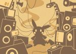 blush_stickers creatures_(company) full_body game_freak gen_1_pokemon limited_palette looking_at_viewer monochrome nintendo no_humans pikachu pokachuu pokemon pokemon_(creature) screen sepia silhouette speaker standing wire