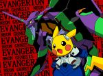 blush_stickers bodysuit copyright_name cosplay cowboy_shot creatures_(company) eva_01 game_freak gen_1_pokemon horn ikari_shinji ikari_shinji_(cosplay) mecha neon_genesis_evangelion nintendo no_humans open_mouth pikachu plugsuit pokachuu pokemon pokemon_(creature) red_background