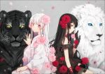 2girls animal bangs bare_shoulders black_dress black_gloves black_hair blue_eyes blush bow bowtie breasts choker closed_mouth commentary detached_sleeves dress earrings eyebrows_visible_through_hair fingernails flower gloves grey_background hair_flower hair_ornament hakusai_(tiahszld) japanese_clothes jewelry kimono light_frown lion long_hair long_sleeves looking_at_viewer multiple_girls nail_polish obi original petals petting pink_flower pink_nails pink_rose profile red_bow red_eyes red_flower red_neckwear red_rose rose sash see-through silver_hair sitting small_breasts smile symbol_commentary tiger very_long_hair violet_eyes white_choker white_hair white_kimono wide_sleeves wrist_flower yellow_eyes