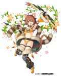 1girl :d ahoge animal_ears arrow belt black_gloves bow_(weapon) bra brown_eyes cat_ears cat_tail clenched_hand company_name detached_sleeves fingerless_gloves full_body fur_trim gemini_seed gloves green_eyes knee_pads looking_at_viewer navel official_art open_mouth plant sakura_neko scarf short_hair smile solo tail thigh-highs thigh_strap underwear vines weapon white_background wide_sleeves yellow_bra yellow_footwear