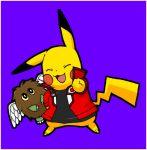 black_eyes black_shirt blue_background blush_stickers brown_hair closed_eyes cosplay creatures_(company) duel_monster game_freak gen_1_pokemon jacket nintendo no_humans open_clothes open_jacket open_mouth pikachu pokachuu pokemon pokemon_(creature) red_jacket school_uniform shirt simple_background smile v white_wings winged_kuriboh wings yellow_sclera yu-gi-oh! yuu-gi-ou yuu-gi-ou_gx yuuki_juudai yuuki_juudai_(cosplay)