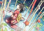 1girl black_hair commentary eyebrows_visible_through_hair floral_print flower hair_ornament highres japanese_clothes kantoku kimono long_hair long_sleeves looking_at_viewer no_shoes origami original paper_crane pink_eyes print_kimono red_kimono seiza sitting solo water
