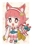 1girl :3 animal_ears artist_name bell blue_bow bow cat_ears cat_tail fake_animal_ears fake_tail fingerless_gloves fire_emblem fire_emblem_heroes fire_emblem_if flyer_27 gloves hairband halloween_costume highres japanese_clothes nintendo open_mouth pink_hair red_eyes sakura_(fire_emblem_if) short_hair solo tail