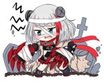 1girl admiral_graf_spee_(azur_lane) azur_lane bailingxiao_jiu bandage bandaged_head bandages bangs black_dress black_footwear blue_eyes blush boots chibi claws dress eyebrows_visible_through_hair fang looking_away multicolored_hair open_mouth red_scarf redhead scarf short_hair silver_hair simple_background solo standing streaked_hair tombstone wavy_mouth white_background