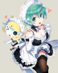 1girl :3 :d ;d apron bare_shoulders black_dress black_legwear blush bow breasts character_request cleavage detached_collar dress elbow_gloves frilled_dress frilled_gloves frilled_legwear frills gloves green_eyes green_hair heart keroro keroro_gunsou looking_at_viewer maid maid_headdress medium_breasts mimoza_(96mimo414) one_eye_closed open_mouth short_hair smile spaghetti_strap strap_lift thigh-highs white_apron white_bow white_gloves