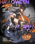 1girl alternate_costume alternate_hairstyle bangs belt black_footwear black_gloves black_hair black_leotard boots breasts bren_(girls_frontline) candy cape character_name cleavage copyright_name cross-laced_footwear damaged earrings eyebrows_visible_through_hair floating food full_body girls_frontline gloves grey_hair gun haijin hair_between_eyes hair_ribbon half_gloves hat high_heel_boots high_heels holding holding_gun holding_weapon jewelry lace-up_boots large_breasts leotard light_machine_gun logo lollipop long_hair multicolored_hair official_art one_eye_closed open_mouth pouch pumpkin red_eyes ribbon sidelocks slit_pupils star strap thigh-highs thigh_strap thighs torn_cape torn_clothes torn_leotard tress_ribbon trigger_discipline underbust watermark weapon witch_hat wrist_straps