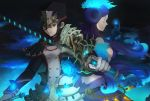 2girls aonoha_ao black_hair collarbone fire gloves hat highres kagutsuchi_(xenoblade) long_hair meleph_(xenoblade) military military_hat military_uniform multiple_girls nintendo pauldrons purple_hair reverse_trap short_hair simple_background smile sword uniform weapon xenoblade_(series) xenoblade_2